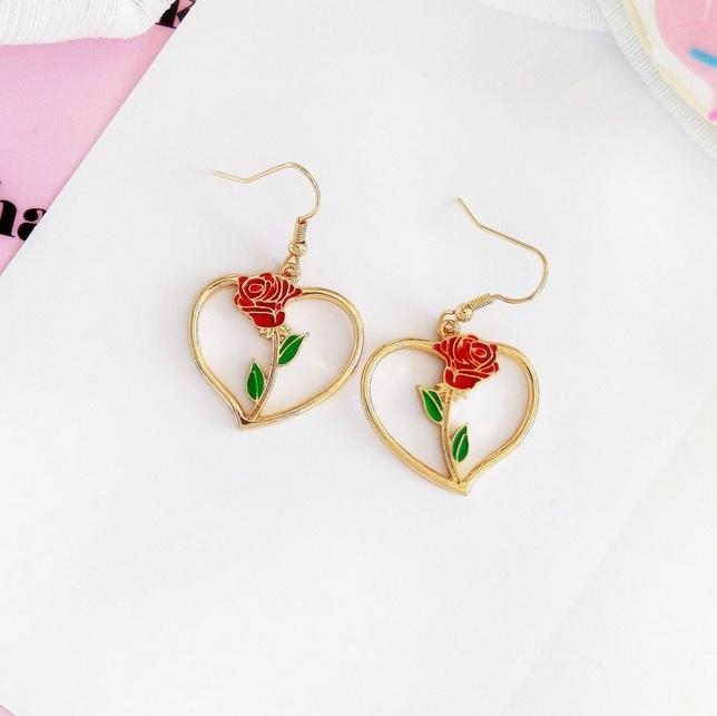 itGirl Shop METALLIC HEARTS ROSE FLOWER PURPLE RED BEIGE EARRINGS