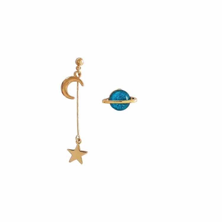 itGirl Shop METALLIC LONG ASYMMETRIC MOON SATURN PLANET EARRINGS Aesthetic Apparel, Tumblr Clothes, Soft Grunge, Pastel goth, Harajuku fashion. Korean and Japan Style looks