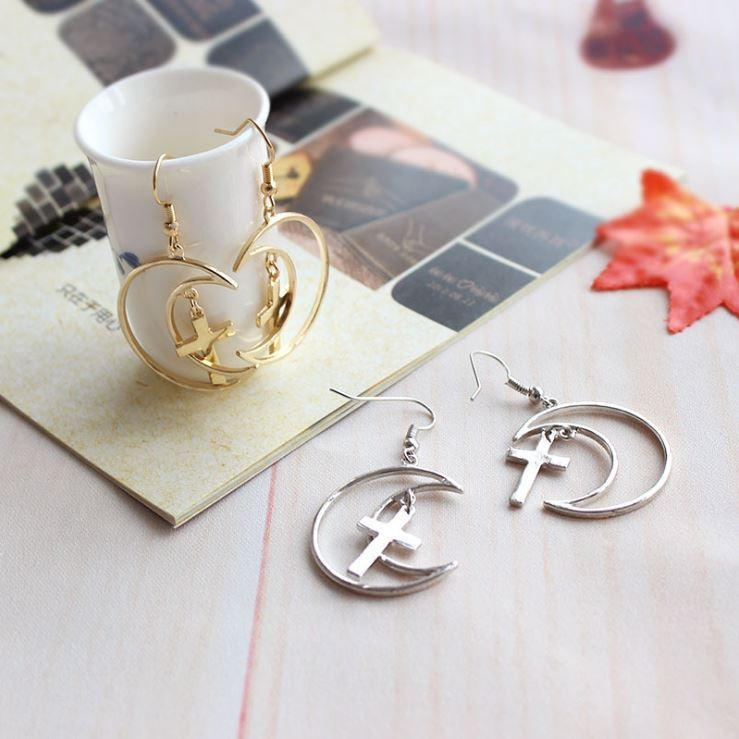 itGirl Shop METALLIC MOON CROSSES EARRINGS