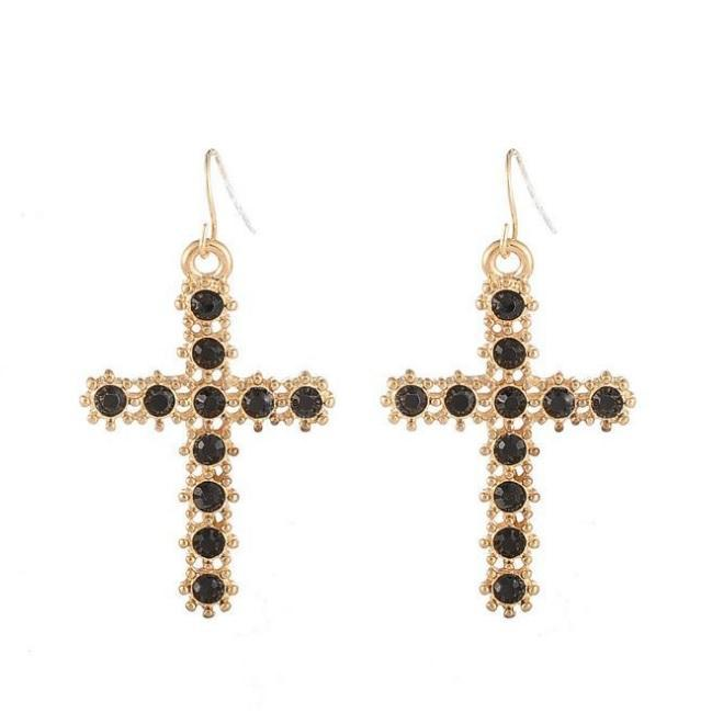 itGirl Shop METALLIC PEARL RHINESTINES CROSSES EARRINGS