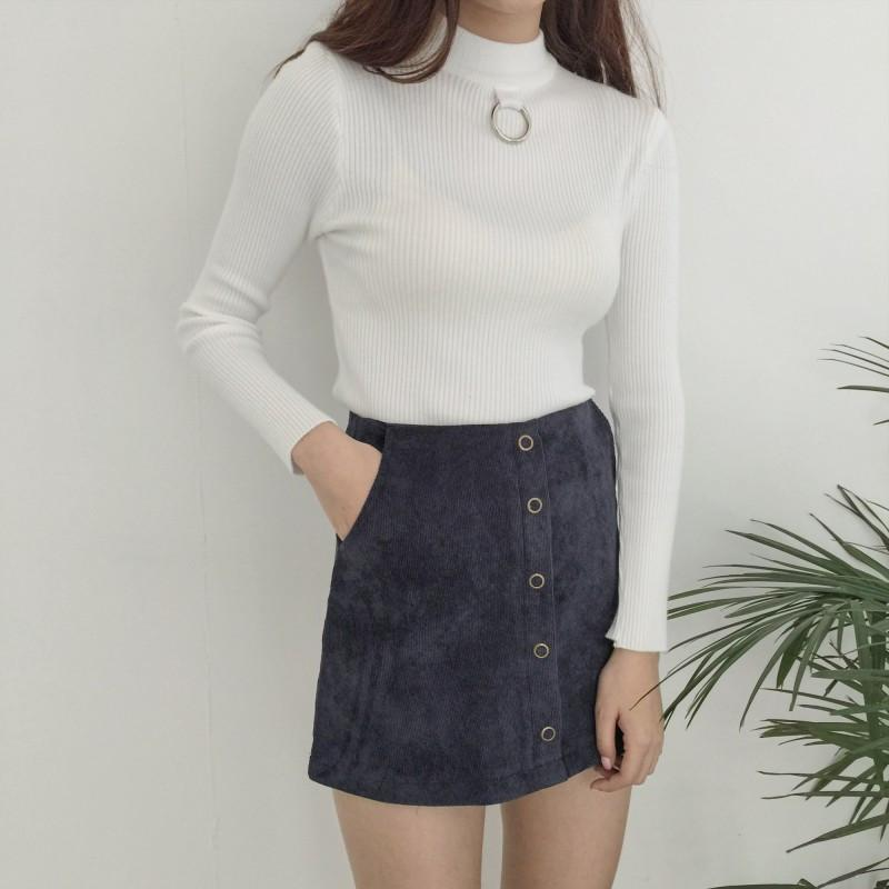 Buy Cheap Aesthetic Clothing METALLIC RING SLIM COTTON LONG SLEEVE Sale 30% OFF itGirl Shop itgirlclothing.com