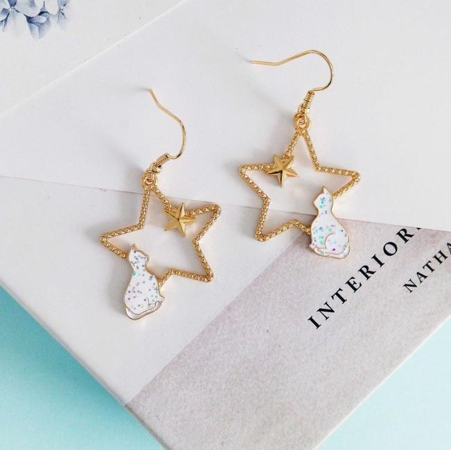 itGirl Shop METALLIC STARS CUTE CATS FRAME EARRINGS