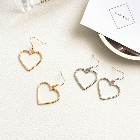 itGirl Shop METALLIC VINTAGE HEART EARRINGS