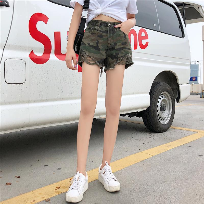 itGirl Shop MILITARY ARMY GREEN PATTERN DENIM JEAN RIPPED EDGE SHORTS