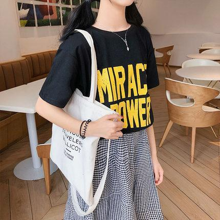 itGirl Shop MIRACLE POWER RETRO FONT LOOSE WHITE BLACK T-SHIRT