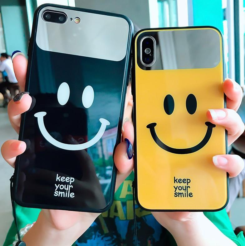 MIRROR SMILE FACE BLACK YELLOW IPHONE CASE