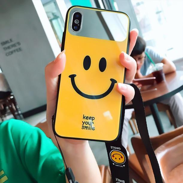 itGirl Shop MIRROR SMILE FACE BLACK YELLOW IPHONE CASE