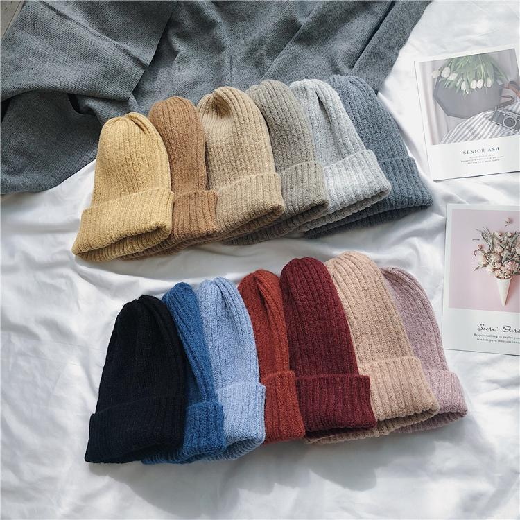 itGirl Shop MOHAIR CHUNKY RIB KNITTED PASTEL COLORS WARM BEANIE