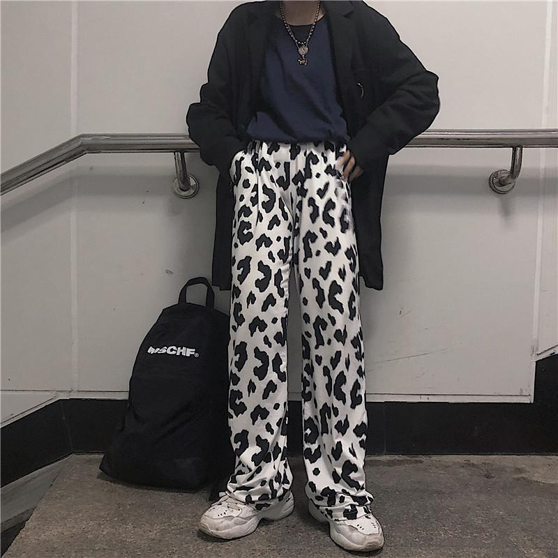 itGirl Shop MONOCHROME LEOPARD PRINT RETRO AESTHETIC LOOSE PANTS