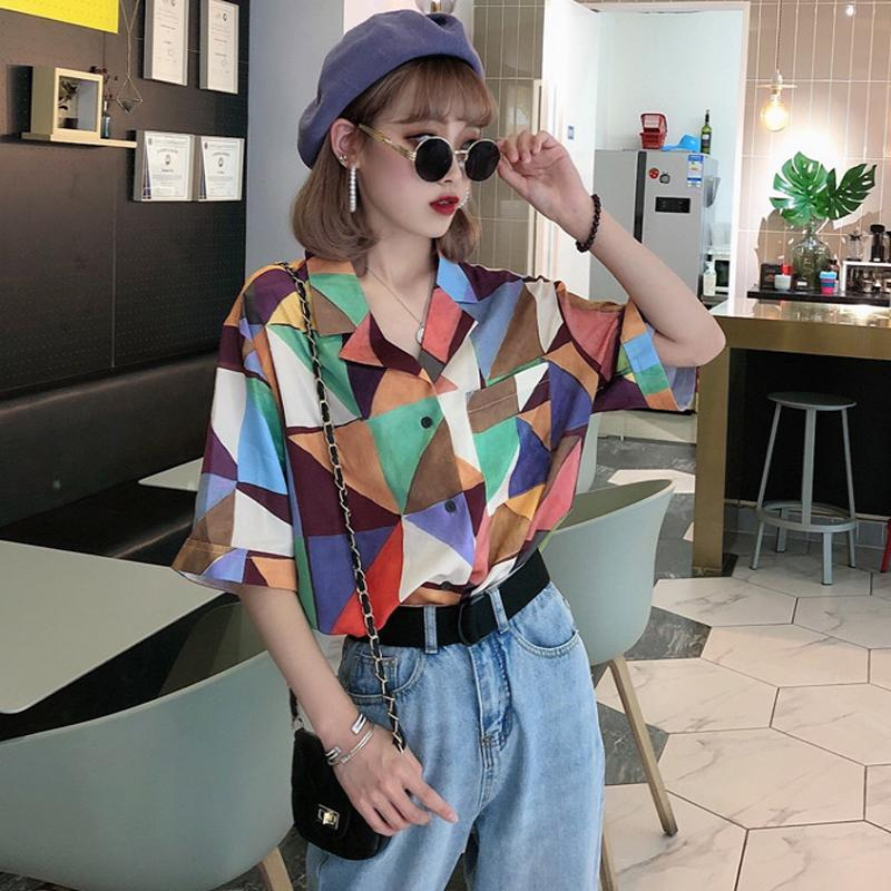 itGirl Shop MOSAIC COLORFUL GEOMETRIC PRINTED SHORT SLEEVE BLOUSE