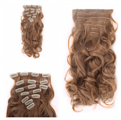 itGirl Shop NATURAL COLORS FAUX WAVY HAIR CLIPS