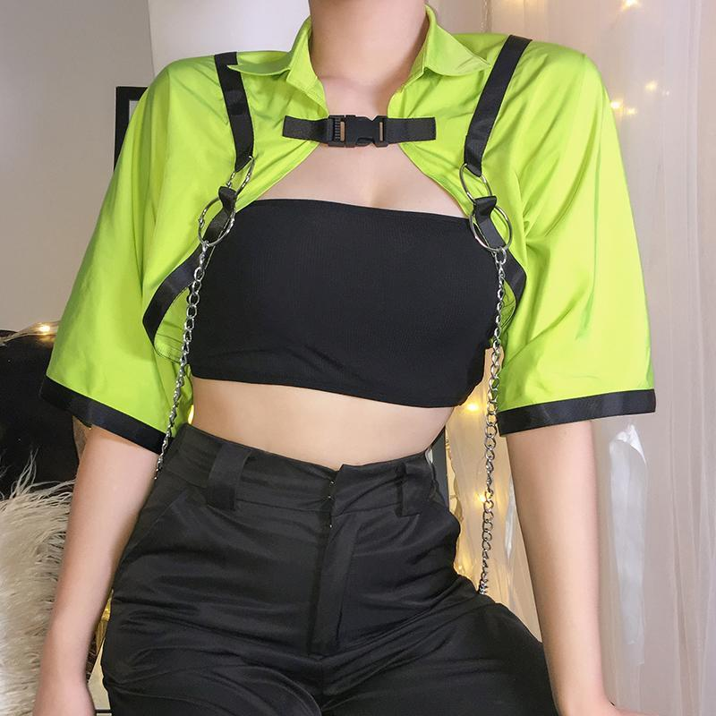 itGirl Shop NEON COLOR STRAPS METALLIC CHAINS CROPPED TOP