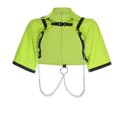 NEON COLOR STRAPS METALLIC CHAINS CROPPED TOP