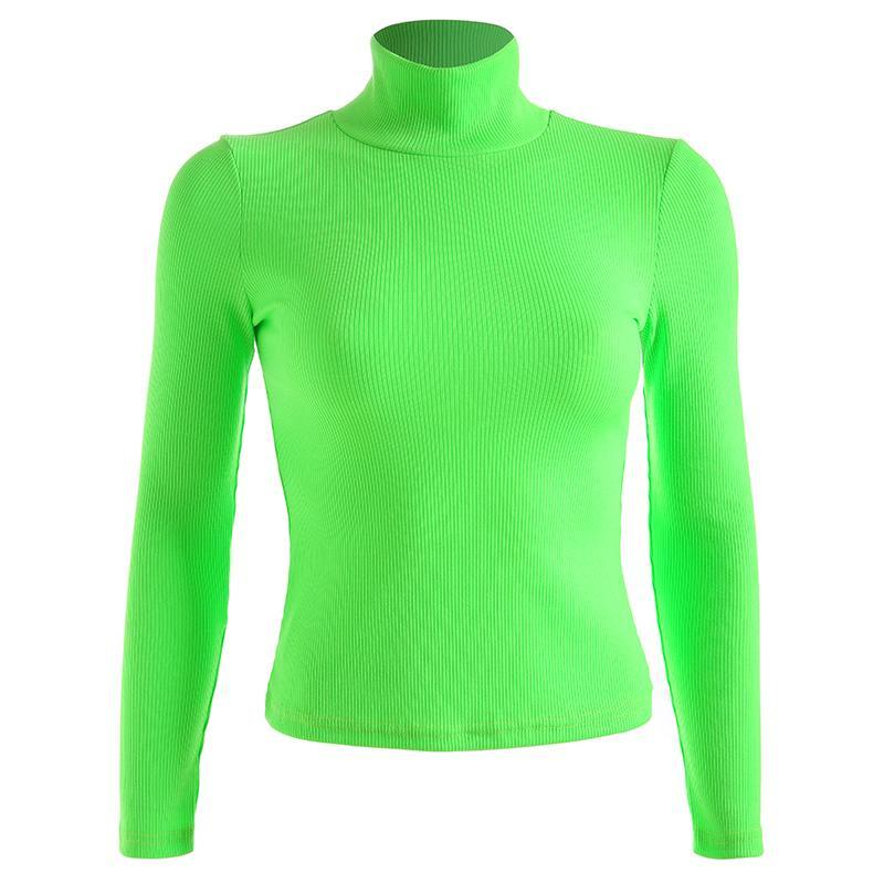 itGirl Shop NEON COLOR TURTLE NECK LONG SLEEVE KNIT RIBBED SHIRT
