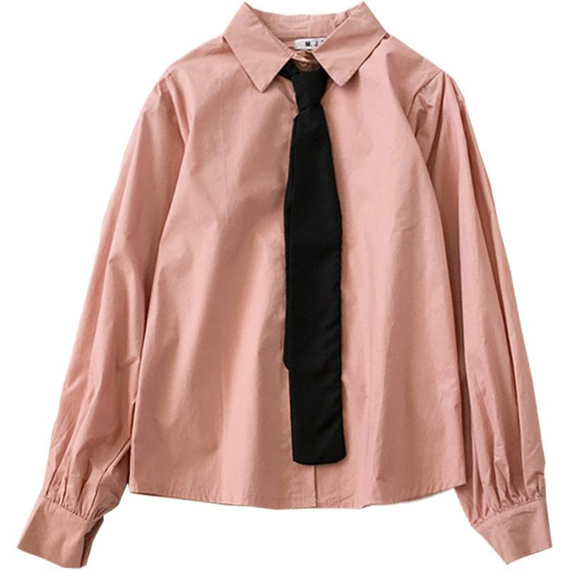 itGirl Shop OFFICE COLORS FORMAL CUTE BLACK TIE SHIRT