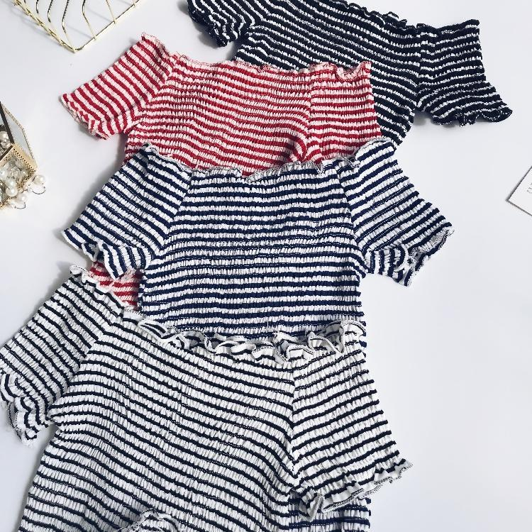 itGirl Shop OPEN SHOULDERS ELASTIC BASIC STRIPES SIMPLE COLORS TOPS