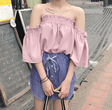 itGirl Shop OPEN SHOULDERS VOLUME LIGHT SUMMER TOP Aesthetic Apparel, Tumblr Clothes, Soft Grunge, Pastel goth, Harajuku fashion. Korean and Japan Style looks