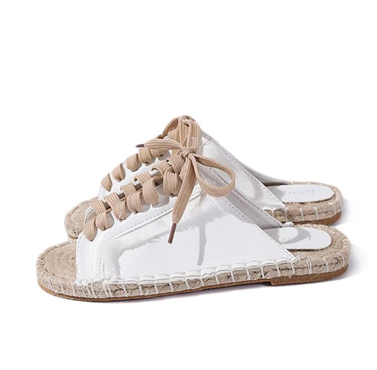 itGirl Shop OPEN TOE SLIPPERS LACE UP SUMMER BOTTOM SANDALS