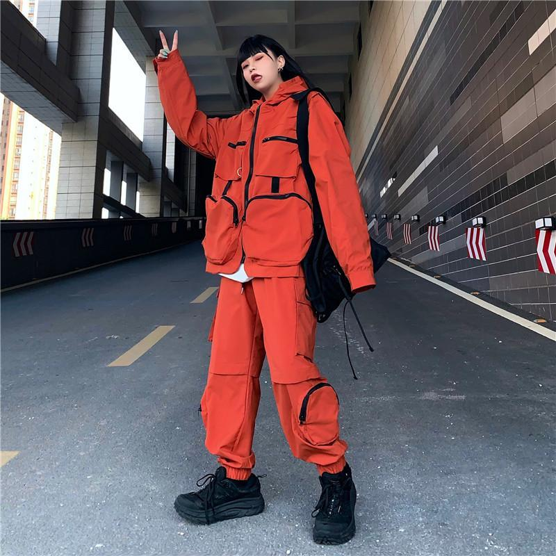 itGirl Shop ORANGE SUIT GRUNGE ZIPPER HOODIE + LOOSE PANTS