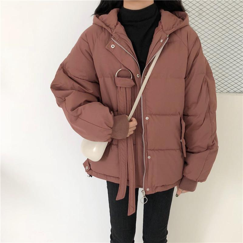 itGirl Shop OUTWEAR HOODED SOLID COLORS ZIPPER QUILTED JACKET