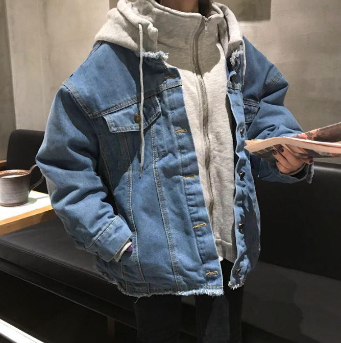 itGirl Shop OVERSIZE DENIM HOODED THICK JACKET