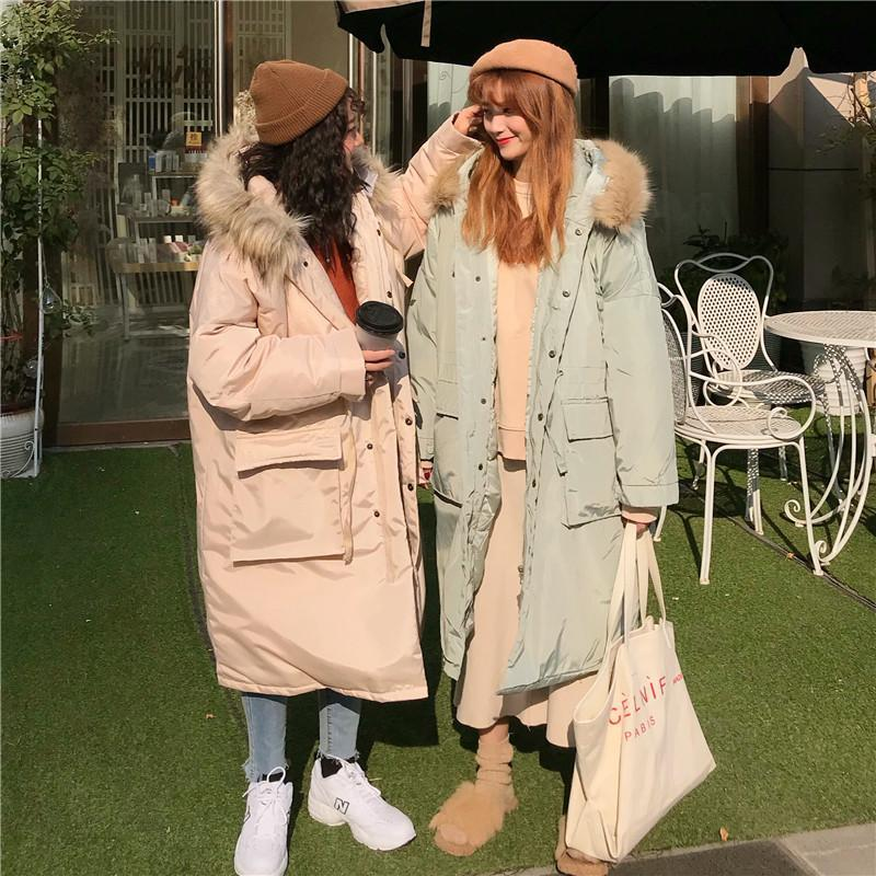 itGirl Shop OVERSIZE PINK MINT FAUX FUR HOODED LONG COAT