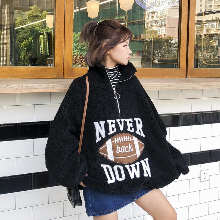 itGirl Shop OVERSIZE PLUSH VELVET AMERICAN FOOTBALL SWEATSHIRT