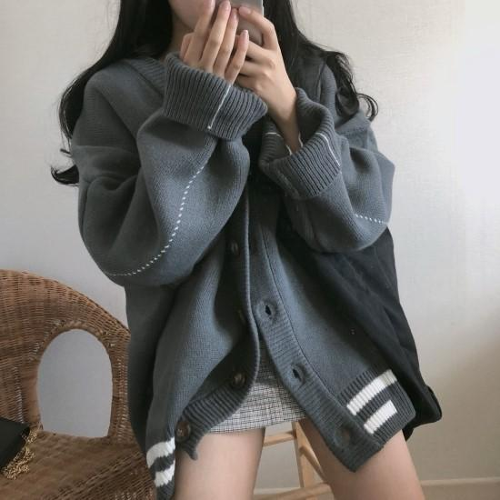 itGirl Shop OVERSIZE RETRO KNIT BEIGE GRAY CARDIGAN