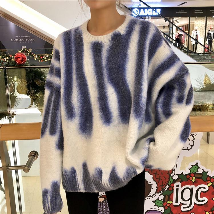 itGirl Shop OVERSIZE SOFT FLEECE RETRO WASHED SWEATER