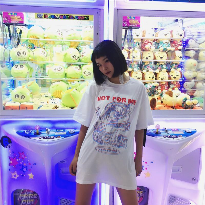 itGirl Shop OVERSIZED ANIME GIRL LETTERS PRINT WHITE T-SHIRT