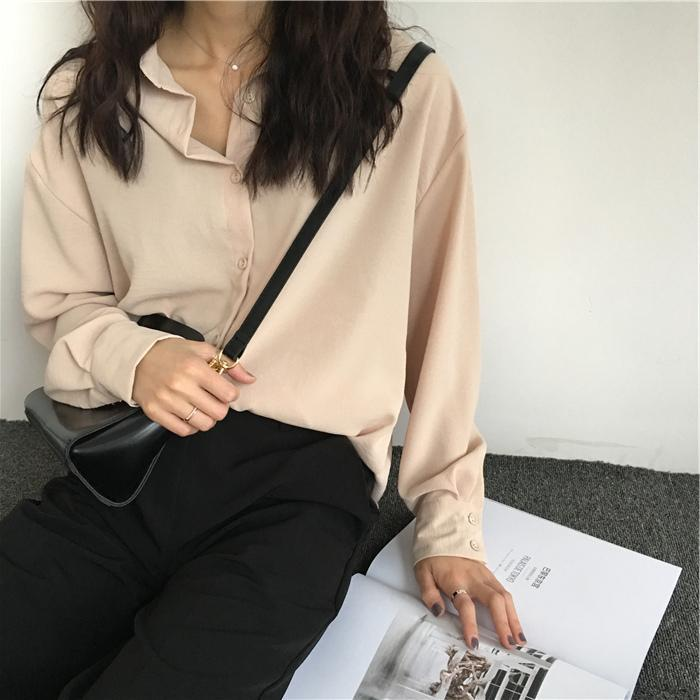 itGirl Shop OVERSIZED BEIVE BUTTONS COLLAR LONG BLOUSE