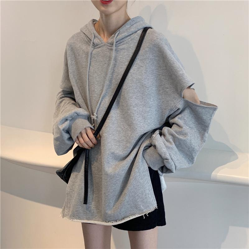 itGirl Shop OVERSIZED GRAY ELBOW HOLE GRUNGE AESTHETIC HOODIE