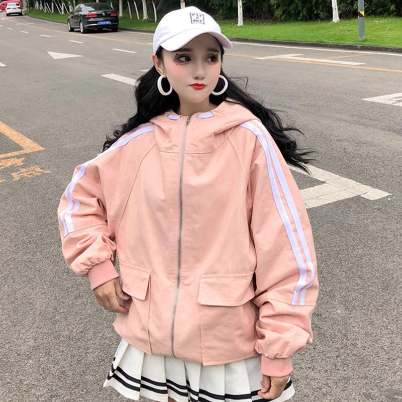 itGirl Shop OVERSIZED HOODED SIDE STRIPES WINDBREAKER JACKET