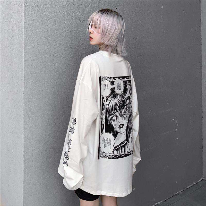 itGirl Shop OVERSIZED HORROR COMIC BACK PRINTED WHITE SWEATSHIRT