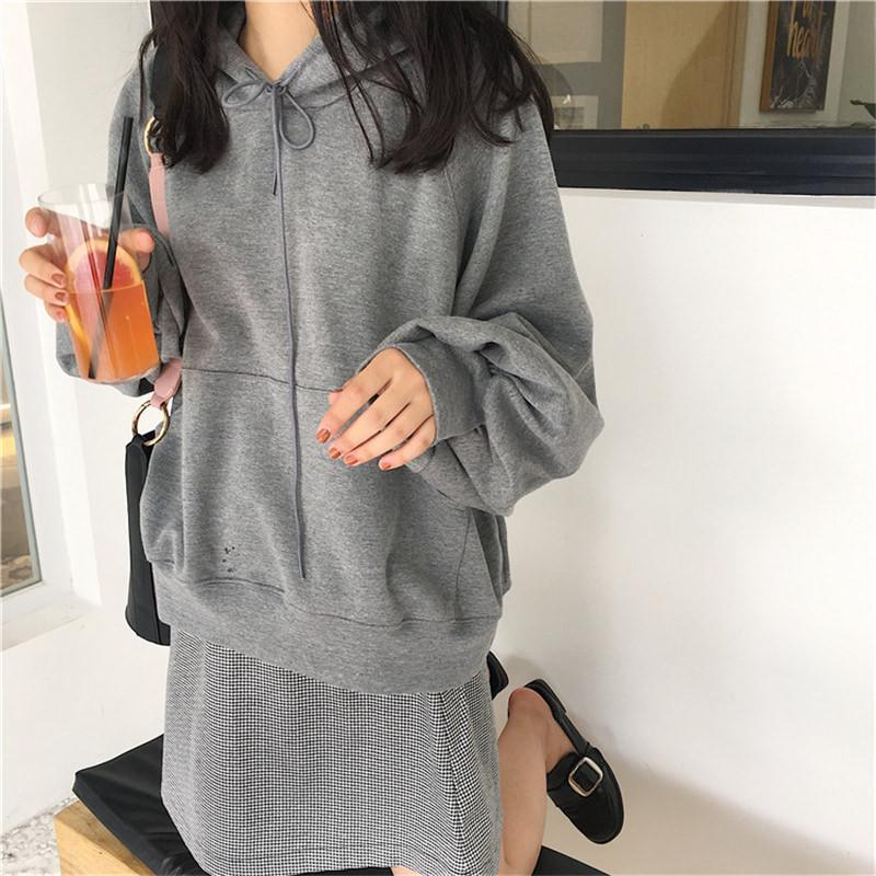 itGirl Shop OVERSIZED LONG SLEEVE SHOELACE BOW AUTUMN HOODIE