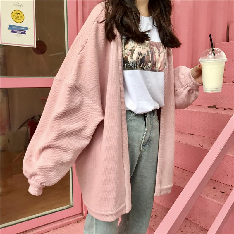 itGirl Shop OVERSIZED PASTEL AESTHETIC KNITTED CARDIGAN