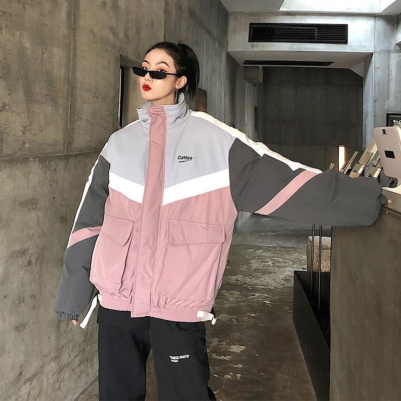 itGirl Shop OVERSIZED PINK GRAY COLOR BLOCK OUTWEAR JACKET