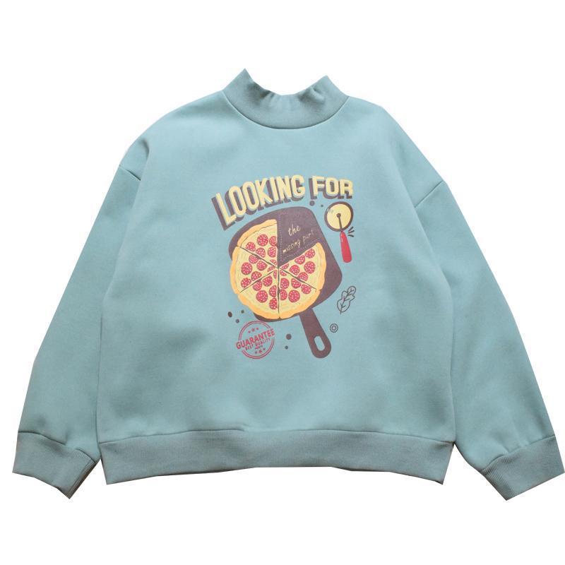 itGirl Shop OVERSIZED PIZZA PRINT NAVY BLUE GREEN KAWAII SWEATSHIRT