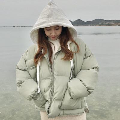 itGirl Shop OVERSIZED PUFF PADDED GRAY COTTON HOOD ZIPPER OUTWEAR COAT