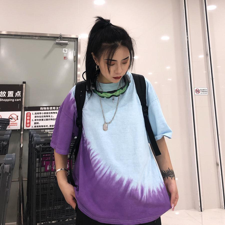 itGirl Shop OVERSIZED RETRO BLUE PURPLE TIE DYE T-SHIRT