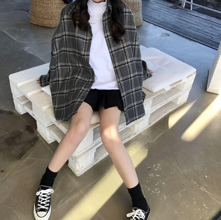 itGirl Shop OVERSIZED TARTAN PLAID WOOL SHIRT