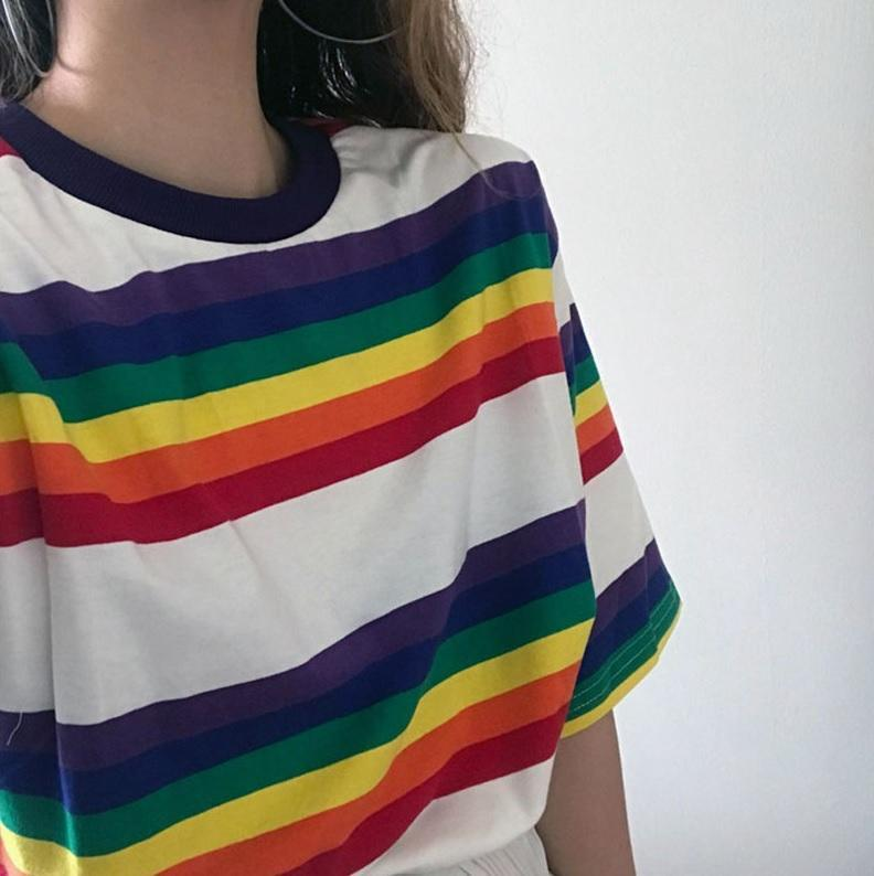 itGirl Shop OVERSIZED TOMBOY STRIPES RAINBOW LONG T-SHIRT