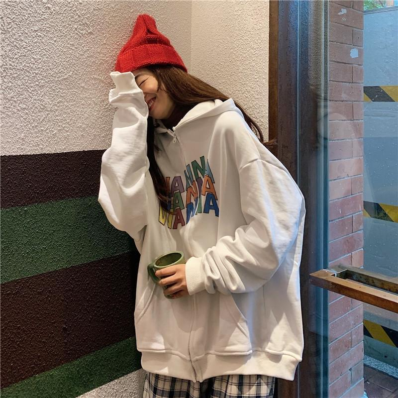 itGirl Shop OVERSIZED WANNA COLORFUL LETTER PRINT HOODIE