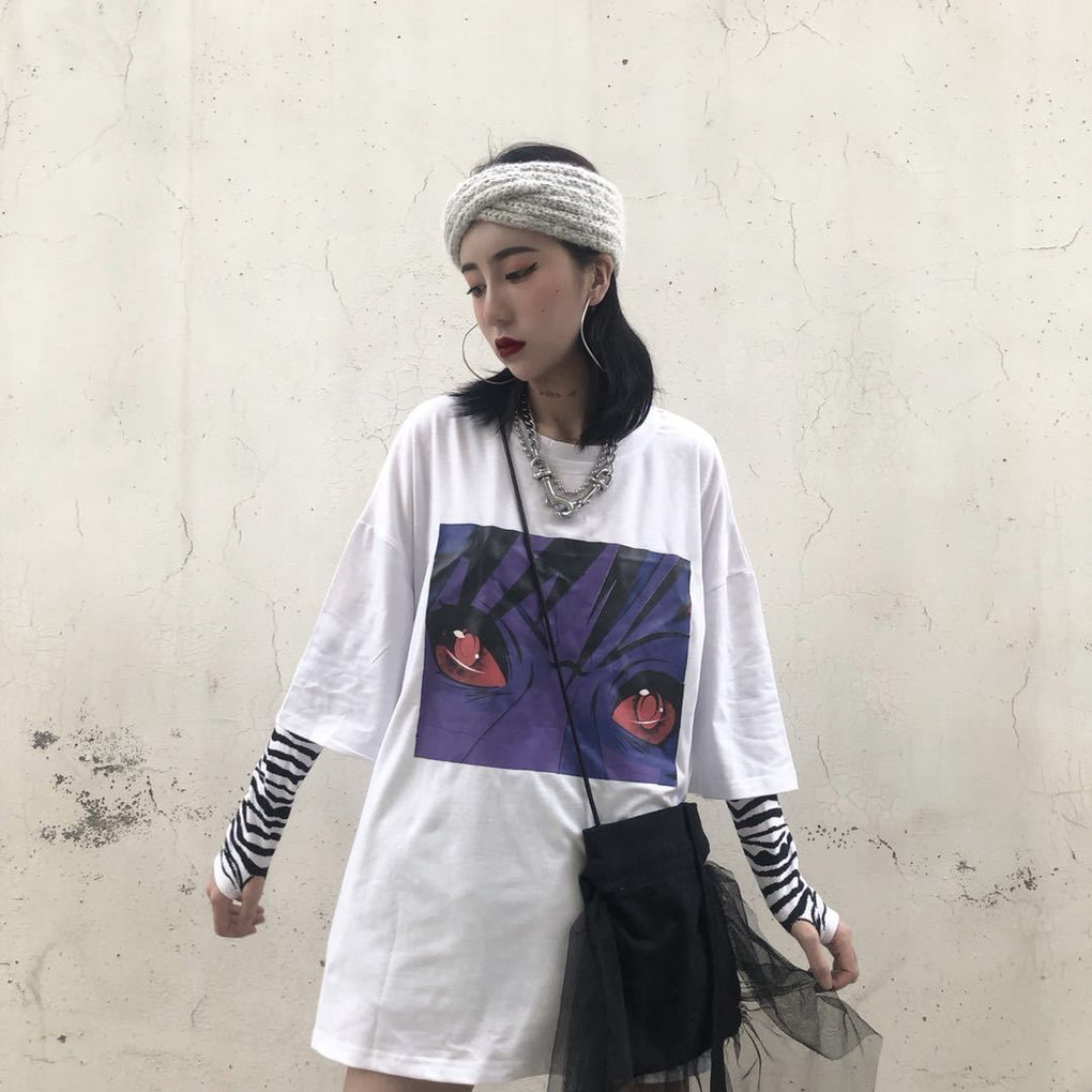 itGirl Shop OVERSIZED WHITE BLACK NARUTO EYES PRINT T-SHIRT