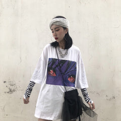OVERSIZED WHITE BLACK NARUTO EYES PRINT T-SHIRT