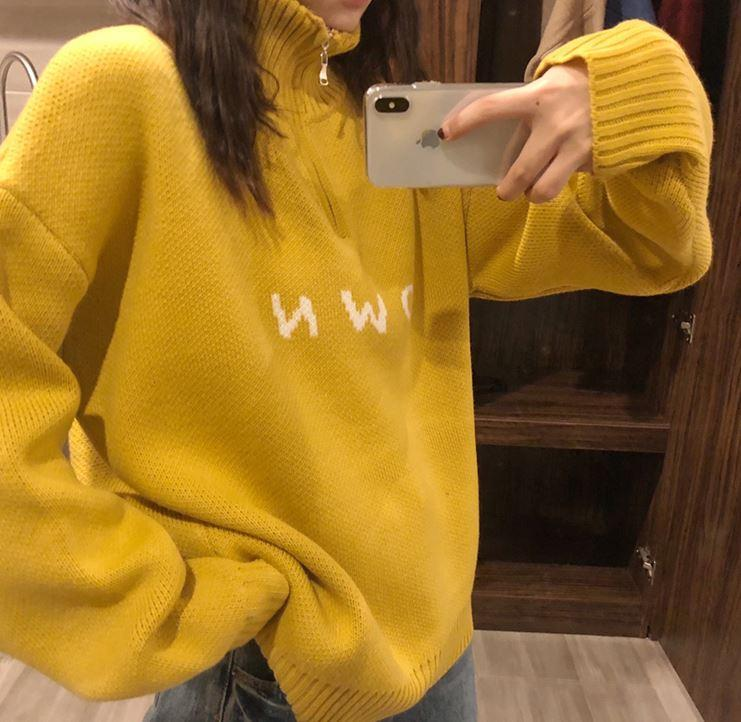 itGirl Shop OWN LETTERS STAND COLLAR ZIPPER KNITTED SWEATER