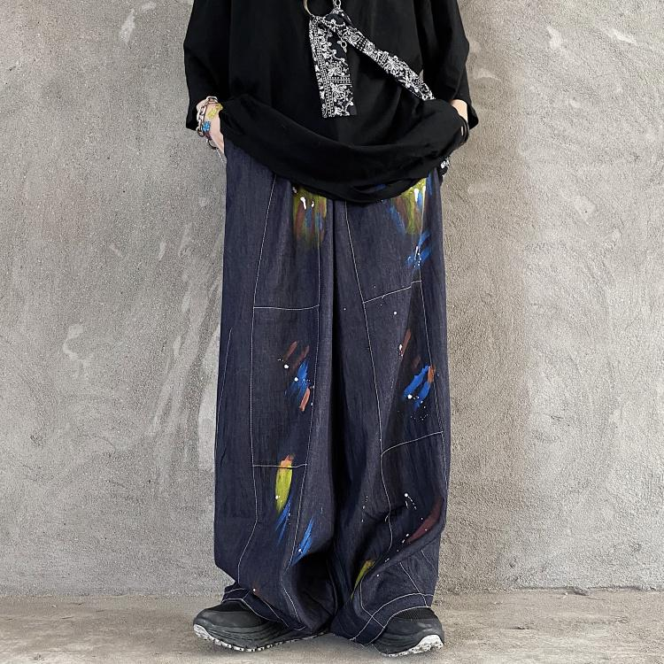 itGirl Shop PAINT BRUSHSTROKES PRINT RETRO GRAY BLUE OVERSIZED PANTS