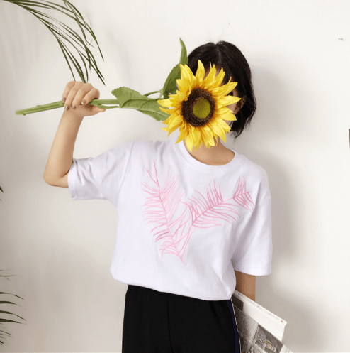 itGirl Shop PALM LEAF EMBROIDERY COTTON OVERSIZED T-SHIRT