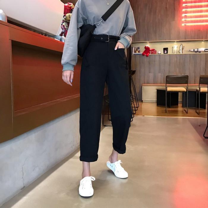 itGirl Shop PASTEL AESTHETIC HIGH WAIST CUTE POCKETS CASUAL PANTS