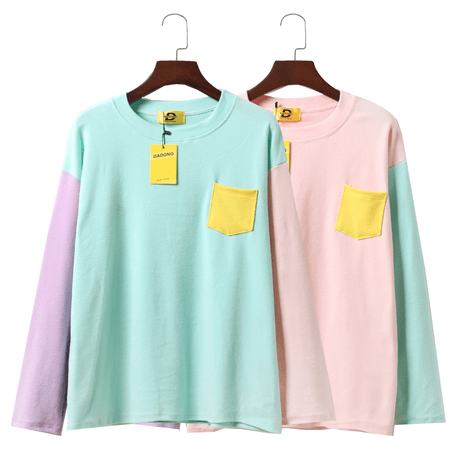 itGirl Shop PASTEL COLORS BUST POCKET LONG SLEEVE Aesthetic Apparel, Tumblr Clothes, Soft Grunge, Pastel goth, Harajuku fashion. Korean and Japan Style looks